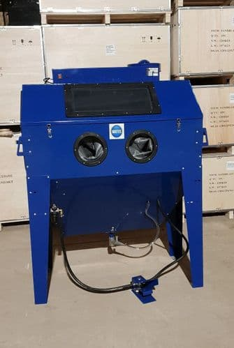 Foot Operated Sand Blast Cabinet with Built in Dust Extractor. SBC420 in Blue Large