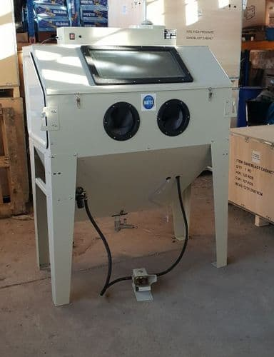 Foot Operated Sand Blast Cabinet with Built in Dust Extractor. SBC420 in Cream Large