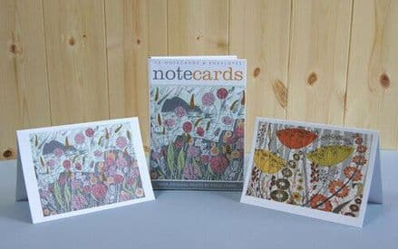 10 Blank Notecards / Notelets - 2 ass  - Lichen / Birches  by Angie Lewin