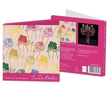 8 Blank Notecards  2 ass Designs  by Zandra Rhodes