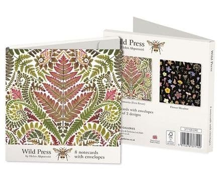 8 Blank Notecards  - 2 ass - Ferns & Flower Meadow