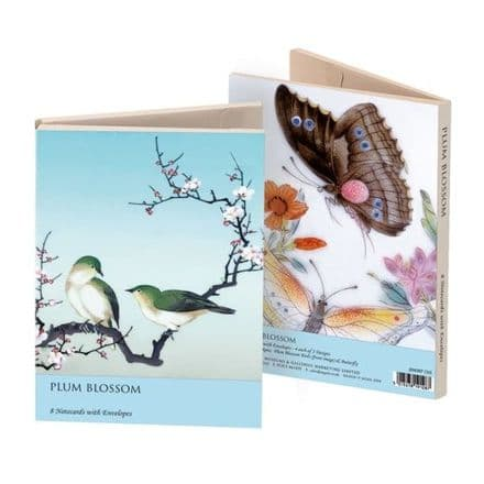 8 Notecards 2 ass - Plum Blossom & Butterfly Oriental Bird