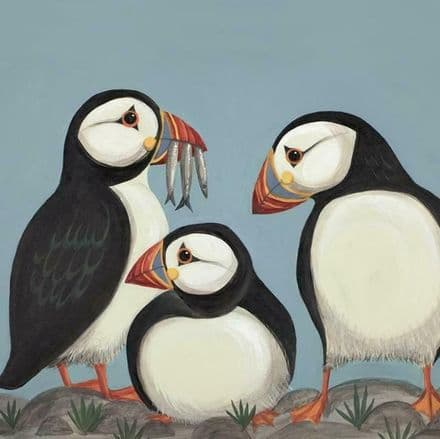 Huffin & Puffin - Art Blank Greeting  Card
