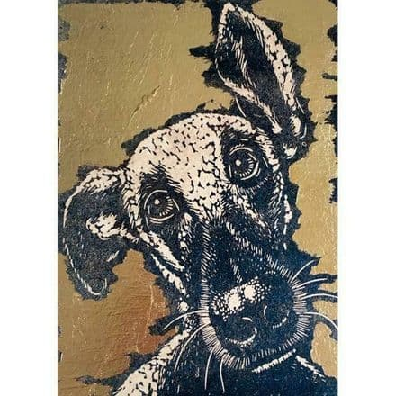 Little Big Nosed  Dog  -  Art Blank Greeting  Card