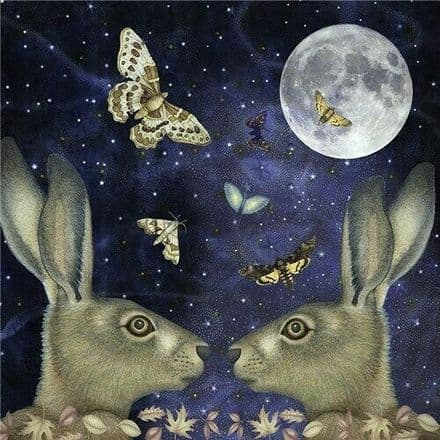 Moonlit Hares  - Art Blank Greeting Card