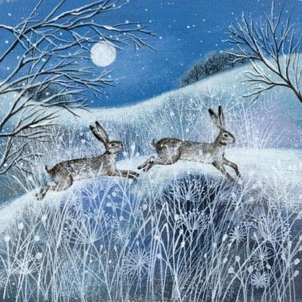Pack of 5 Charity Xmas / Christmas Cards - Moon, Snow and Hares