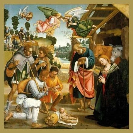 Pack of 5 Xmas / Christmas Cards - Adoration of the  Shepherds