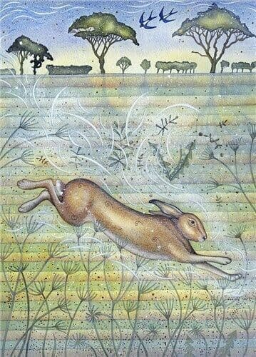 Spring Hare - Fine Art Blank Greeting Card