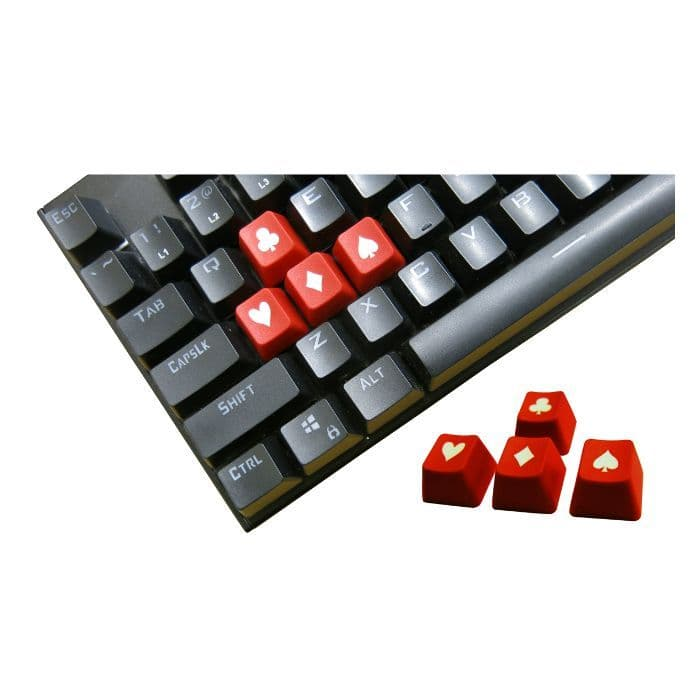 Tai-Hao ABS Double Shot Poker 4 Key Set Red/White Novelty Keycaps