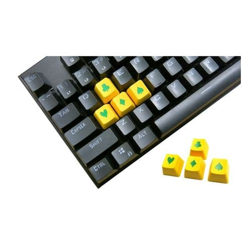 Tai-Hao ABS Double Shot Poker 4 Key Set Yellow/Green Novelty Keycaps