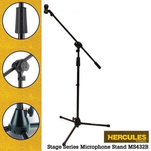 Hercules MS432B Tripod with Boom Microphone Stand -Stage Series - New