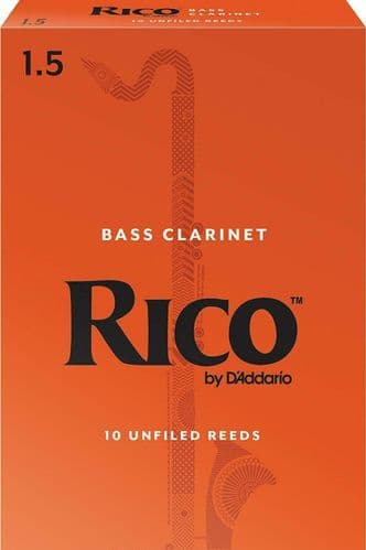 Rico 1.5 Strength Reeds for Bass Clarinet (Pack of 10) - REA1015
