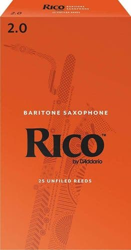 Rico 2.0 Strength Reeds for Baritone Sax (Pack of 25) - RLA2520