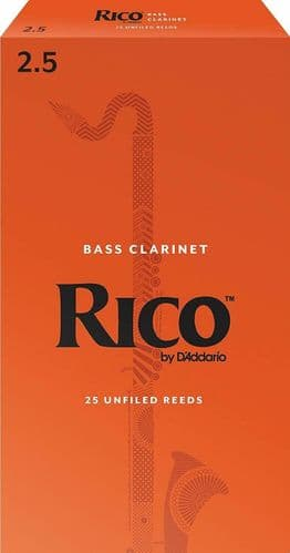 Rico 2.5 Strength Reeds for Bass Clarinet (Pack of 25) - REA2525