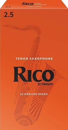 Rico 2.5 Strength Reeds for Tenor Sax (Pack of 25) - RKA2525