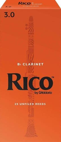 Rico 3.0 Strength Reeds for Bb Clarinet (Pack of 25) - RCA2530