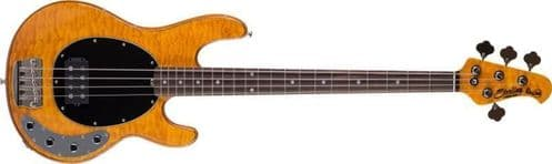 Sterling by Music man Ray34QM StingRay, Antique Maple bass guitar - ray34qm