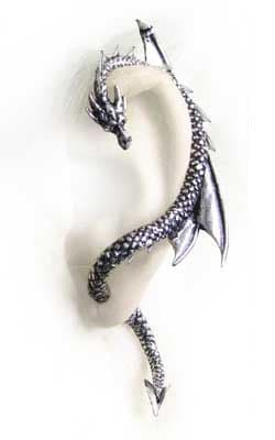 Alchemy Gothic The Dragon's Lure Earring - Left ear wrap.