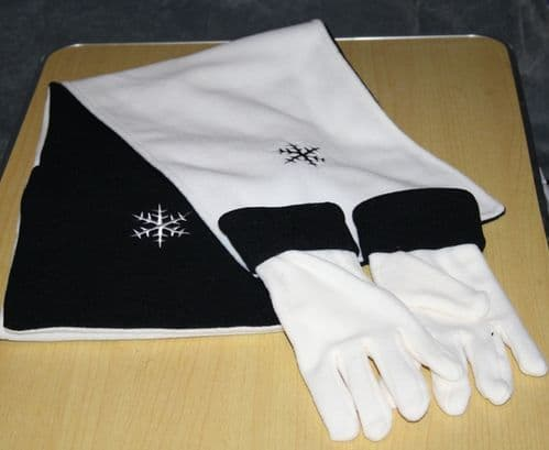 Black/Ivory Snowflake Scarf and Gloves Set