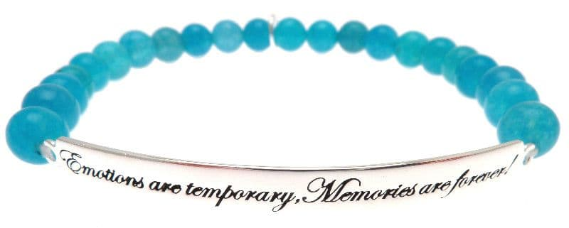 Kissika Sterling Silver Quote Bracelet 'Emotions are temporary,Memories are forever'  In Turquoise Jade