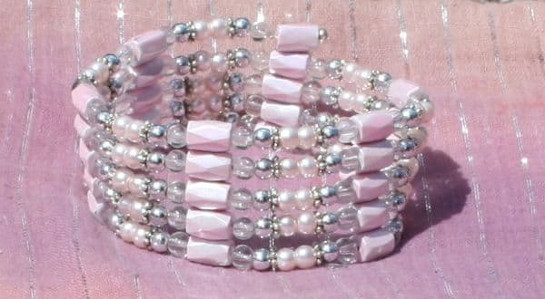 Magnetic Wrap Bracelet/Necklace - Baby Pink