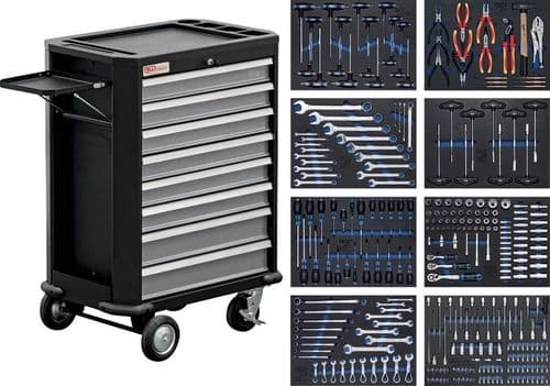 BGS - Workshop Trolley - 8 Drawers with 296 Tools - (4050)