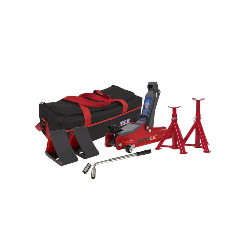 Sealey -  2tonne Low Entry Short Chassis Trolley Jack & Accessories Bag Combo - 1020LEBBAGCOMBO