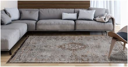 Louis De Poortere Fading World Collection Rug - Medallion Grey Ebony 8257