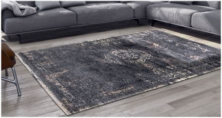 Louis De Poortere Fading World Collection Rug - Medallion Mineral Black 8263
