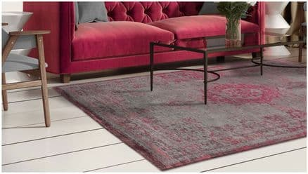 Louis De Poortere Fading World Collection Rug - Medallion Pink Flash 8261
