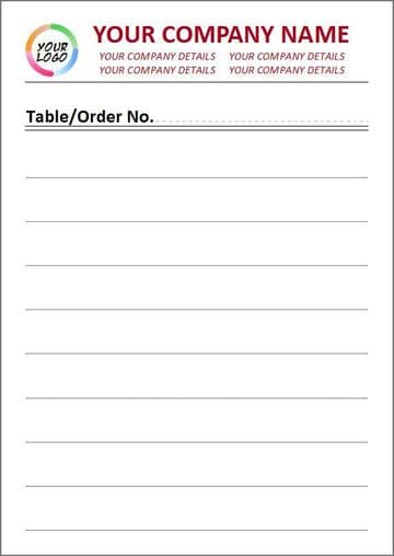 2 Part Duplicate, Full Colour, Lined Style Order Pad