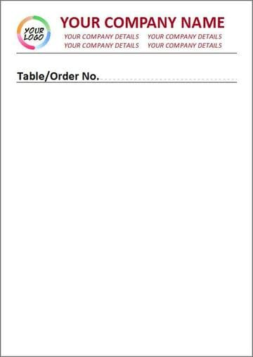2 Part Duplicate, Full Colour, Unlined Style Order Pad