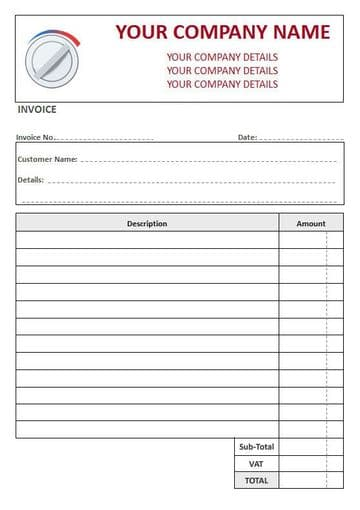 Central Heating Engineers NCR Invoice Pads, 2 Column Lined + VAT
