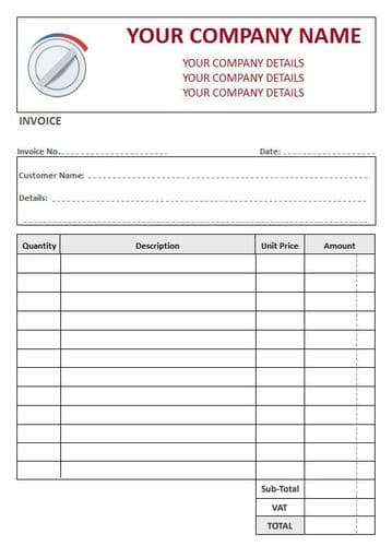 Central Heating Engineers NCR Invoice Pads, 4 Column Lined + VAT