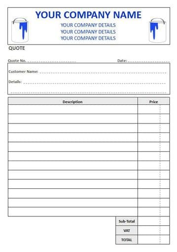 Decorators NCR Quote Pad, 2 Column Lined + VAT