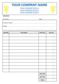 Electricians Invoice Pads