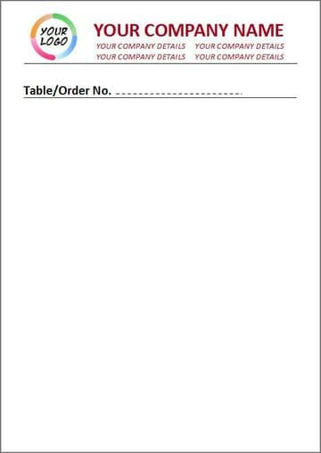 Standard Paper, Full Colour, Unlined Order Pad