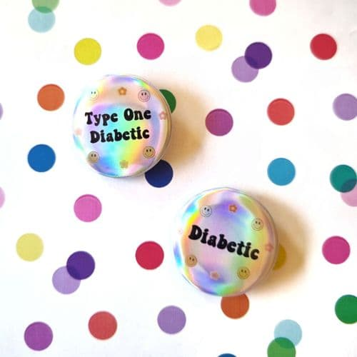 Smiley Holographic Diabetic Button Badge