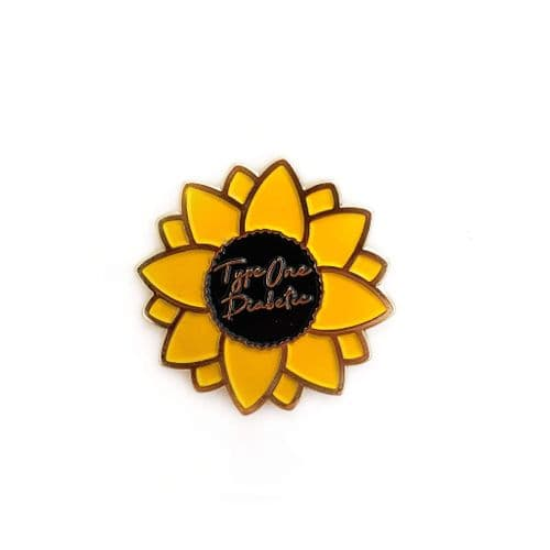 Sunflower Type One Diabetic Enamel Pin