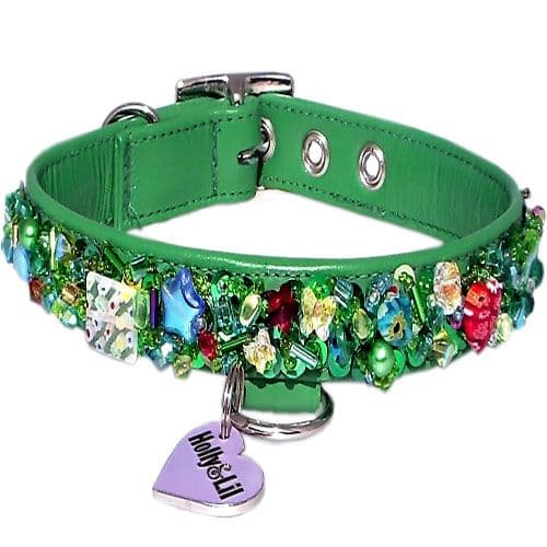 Emerald City. Sequins & Swarovski dog collar - Holly & Lil Collars Handmade in Britain, Leather dog collars, leads & Dog harnesses.