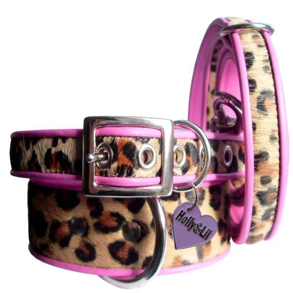 Leopard Rose coswskin  Dog Collars - Holly & Lil Collars Handmade in Britain, Leather dog collars, leads & Dog harnesses.