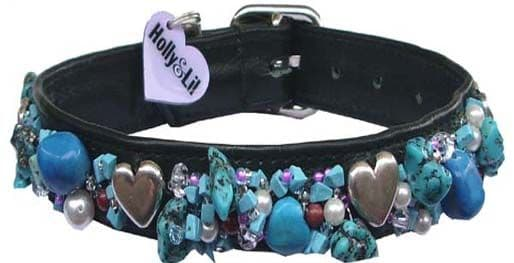 Turquoise & Hearts dog collar - Holly & Lil Collars Handmade in Britain, Leather dog collars, leads & Dog harnesses.