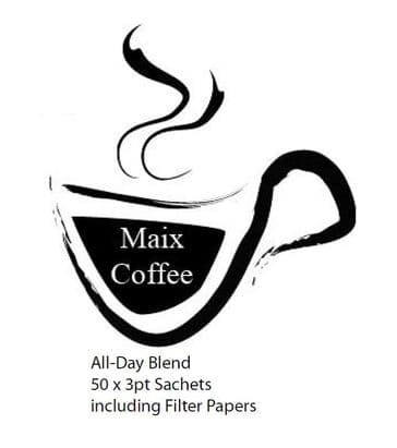 Maix Coffee -  50 x 3 pint Sachets - ALL-DAY Blend -  (Only 10.54p/Cup)
