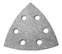 96mm x 96mm x 96mm 6 hole hook & loop delta sanding discs. Diamond abrasive.