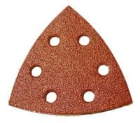 96mm x 96mm x 96mm 6 hole hook & loop delta sanding discs. Price per 50 discs.