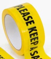 Please Keep A Safe Distance of 2 Metres' Warning Tape. Self-Adhesive.