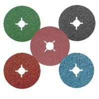 Resin bonded fibre backed grinding and sanding discs