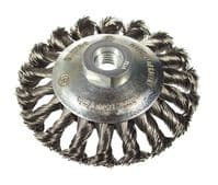 Tapered knotted wire brush. Coarse. Stainless steel wire.