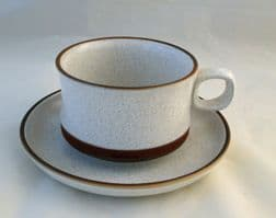 Denby Pottery Potters Wheel Wide Style Breakfast Cups and Saucers
