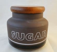 Hornsea Pottery Contrast Wooden Lidded Sugar Storage Jars